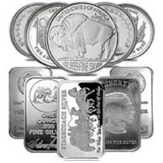 1 Ounce Silver Rounds or Bars